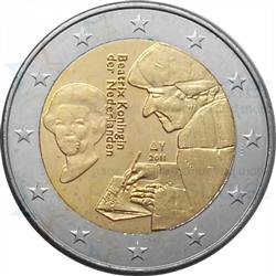 Obverse of Netherlands 2 euros 2011 - 500th Anniversary of The Praise of Folly by Desiderius Erasmus