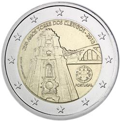Obverse of Portugal 2 euros 2013 - 250th Anniversary of the Clerigos Tower, Porto
