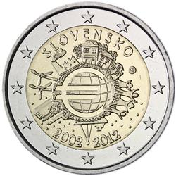 Obverse of Slovakia 2 euros 2012 - 10 years of euro banknotes and coins