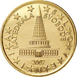 Obverse of Slovenia 10 cents 2007 - Cathedral of Freedom