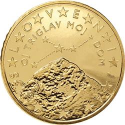 Obverse of Slovenia 50 cents 2007 - Triglav mountain