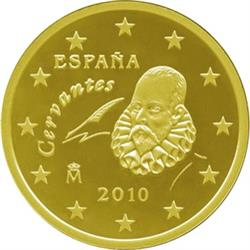 Obverse of Spain 10 cents 2010 - Miguel de Cervantes