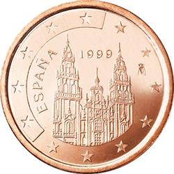 Obverse of Spain 5 cents 1999 - The Cathedral Santiago de Compostela