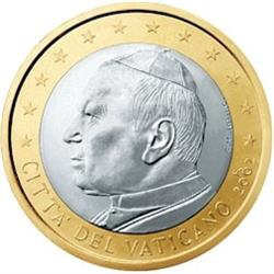 Obverse of Vatican 1 euro 2005 - Portrait of His Holiness Pope John Paul II