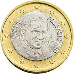 Obverse of Vatican 1 euro 2008 - Portrait of His Holiness Pope Benedict XVI