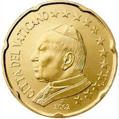 Obverse of Vatican 20 cents 2002 - Portrait of His Holiness Pope John Paul II