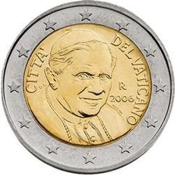 Obverse of Vatican 2 euros 2006 - Portrait of His Holiness Pope Benedict XVI