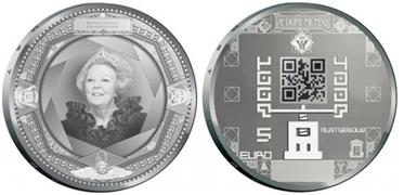 Dutch 5 and 10 euros 2011 coins with QR codes