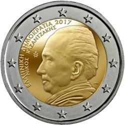 Obverse of Greece 2 euros 2017 - Nikos Kazantzakis