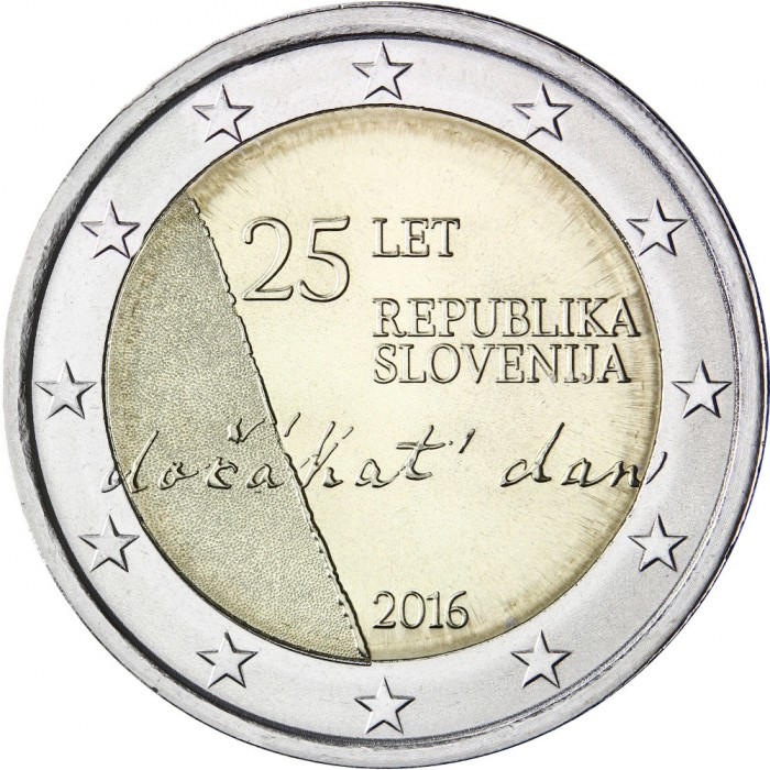slovenia 2 euro 2016 25th anniversary of independence. Black Bedroom Furniture Sets. Home Design Ideas