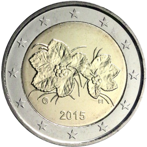 obverse of finland 2 euros 1999 the fruit and leaves of the cloudberry. Black Bedroom Furniture Sets. Home Design Ideas