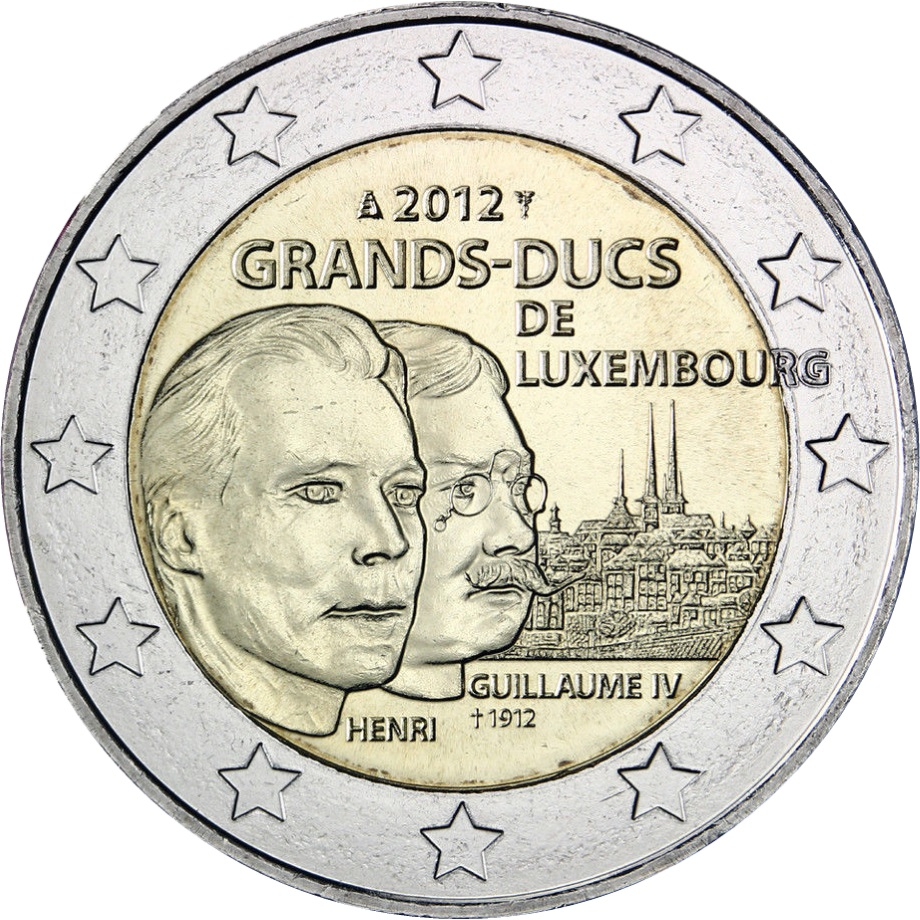 luxembourg 2 euro 2012 100 anniversary of the death of. Black Bedroom Furniture Sets. Home Design Ideas
