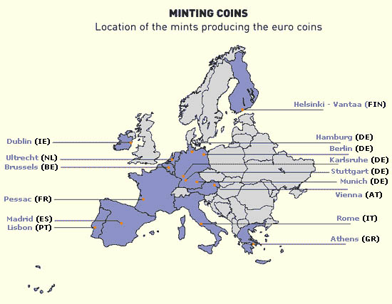 Map of European Mints