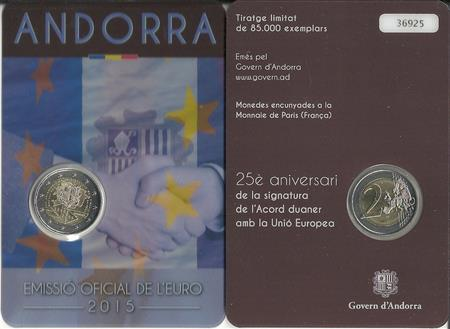 Obverse of Andorra 2 euros 2015 - 25 Years of Customs Union with the EU
