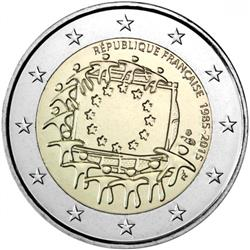 Obverse of France 2 euros 2015 - 30th anniversary of the EU flag