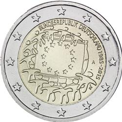Obverse of Germany 2 euros 2015 - 30th anniversary of the EU flag