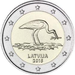 Obverse of Latvia 2 euros 2015 - Black stork protection plan