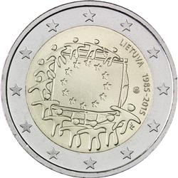 Obverse of Lithuania 2 euros 2015 - 30th anniversary of the EU flag