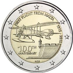 Obverse of Malta 2 euros 2015 - First flight from Malta