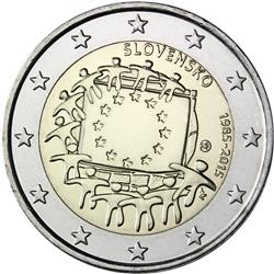 Obverse of Slovakia 2 euros 2015 - 30th anniversary of the EU flag