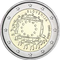 Obverse of Slovenia 2 euros 2015 - 30th anniversary of the EU flag