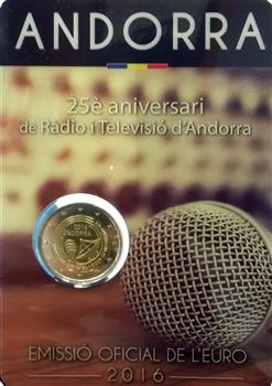 Obverse of Andorra 2 euros 2016 - Radio and Television