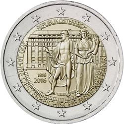Obverse of Austria 2 euros 2016 - Bicentenary of the National Bank of Austria