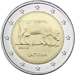 Obverse of Latvia 2 euros 2016 - Dairy Farming