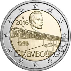 Obverse of Luxembourg 2 euros 2016 - 50 Years of Grand Duchess Charlotte Bridge