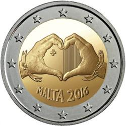 Obverse of Malta 2 euros 2016 - Children and Solidarity