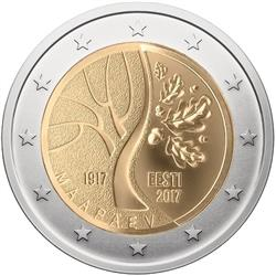 Obverse of Estonia 2 euros 2017 - Estonia's road to independence