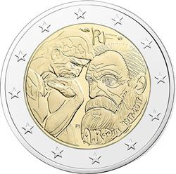 Obverse of France 2 euros 2017 - Auguste Rodin