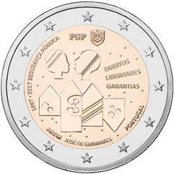 Obverse of Portugal 2 euros 2017 - 150 Years of the Police and Public Security