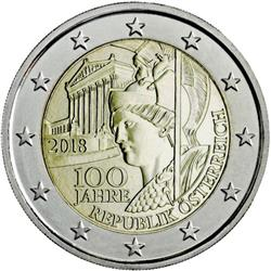 Obverse of Austria 2 euros 2018 - 100th anniversarry of the Austrian Republic