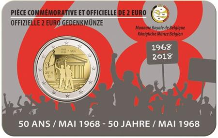 Obverse of Belgium 2 euros 2018 - Student revolt of May 1968