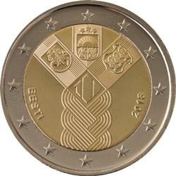 Obverse of Estonia 2 euros 2018 - 100 years of the Baltic States