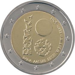 Obverse of Estonia 2 euros 2018 - 100 years since independence
