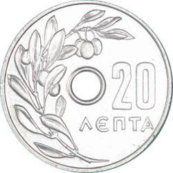 Obverse of Greece 20 lepta 1954 - Olive branch