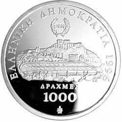 Reverse of Greece 1000 drachmas 1996 - IOC Centennial Coin Programme (1992 to 1996) - Ancient Wrestlers