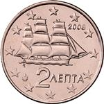 Obverse of Greek 2 cents coin