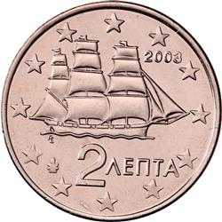 Obverse of Greece 2 cents 2008 - Corvette