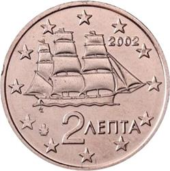 Obverse of Greece 2 cents 2002 - Corvette