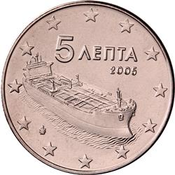 Obverse of Greece 5 cents 2010 - Modern tanker ship