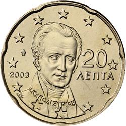 Obverse of Greece 20 cents 2007 - Ioannis Kapodistrias