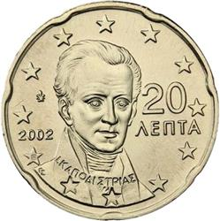 Obverse of Greece 20 cents 2002 - Ioannis Kapodistrias