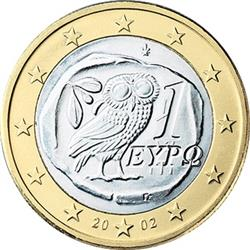 Obverse of Greece 1 euro 2002 - Owl
