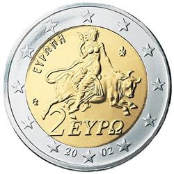 Obverse of Greece 2 euros 2008 - Europa abducted by Zeus