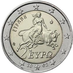 Obverse of Greece 2 euros 2002 - Europa abducted by Zeus