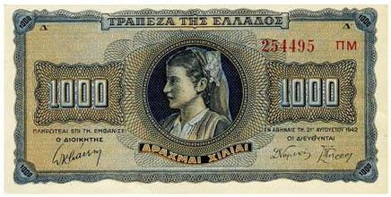 Obverse of Greece 1000 drachmai 1942
