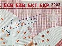 Jean-Claude Trichet's signature on euro banknotes